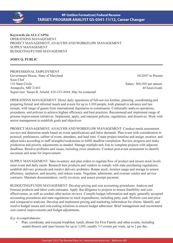 Federal Resume Samples Resume Place